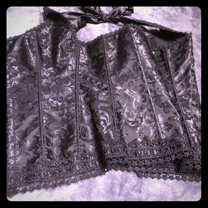 Other - Black satin and brocade corset